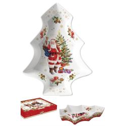Porcelán kínáló tál fenyő alakú karácsonyi