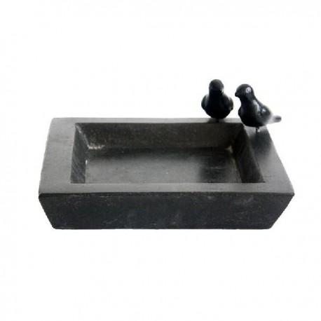 Terrazzo madáretető- és itató tál, szögletes