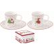 Porcelán eszpresszó szett 2db karácsonyi manóss