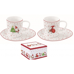 Porcelán eszpresszó szett 2db karácsonyi manós