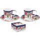 Porcelán eszpresszó szett 2db karácsonyi táj