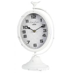Antik fehér fém asztali óra