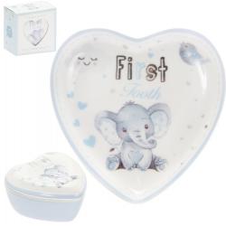 Első fog/hajtincs porcelán tárolódobozka kék