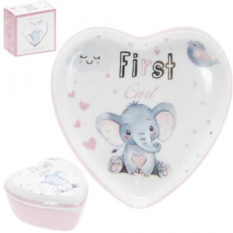 Első fog/hajtincs porcelán tárolódobozka rózsaszín