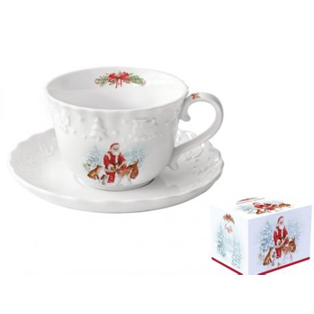 Porcelán csésze + alj 250ml karácsonyi