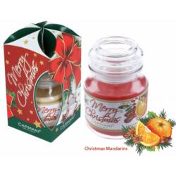 Illatgyertya üvegben karácsonyi mandarin illattal