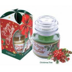 Illatgyertya üvegben karácsonyi fenyőfa illattal