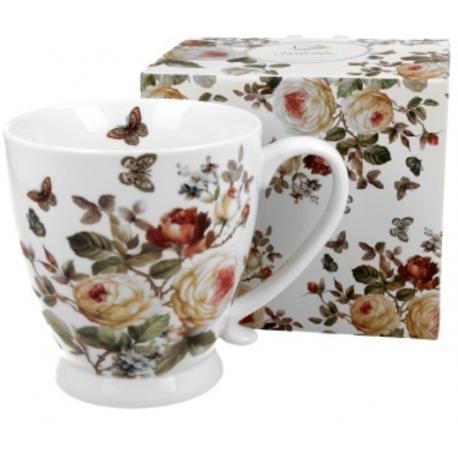 Porcelán bögre, 480ml, rózsás