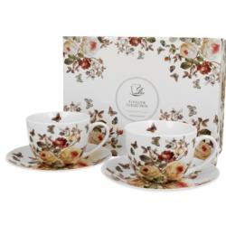 Porcelán csésze+alj szett 2db-os 280ml , virágos
