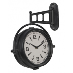 Fém fali vasúti óra fekete