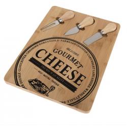 Sajtkínáló falap sajtkésekkel