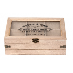 Fa teás doboz 6 fakkos,üveg tetővel - Boite Á Thé