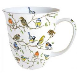 Porcelán bögre 4dl madárkák