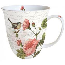 Porcelán bögre 4dl rózsás madaras