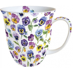 Porcelán bögre 4dl lila virágos