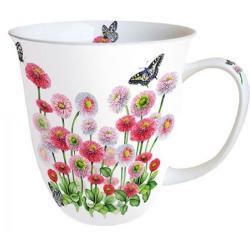 Porcelán bögre 4dl piros virágos lepkés