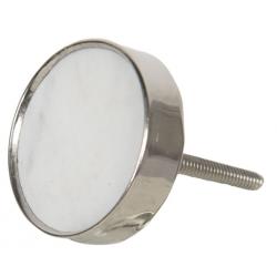 Ajtófogantyú , fehér kő fém foglalatban 4cm