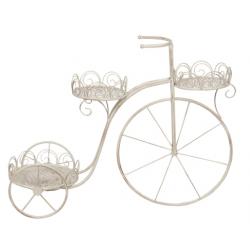 Fém Virágtartó bicikli fehér