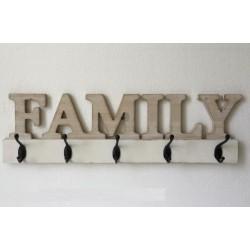 Fa fogas 5db fém akasztóval Family felirattal