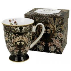 Porcelánbögre, 325ml, William Morris, fekete leveles