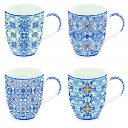 Porcelán bögre 4db-os 350ml Maiolica Blue