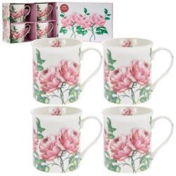 Porcelán bögre 4db-os 300ml rózsás