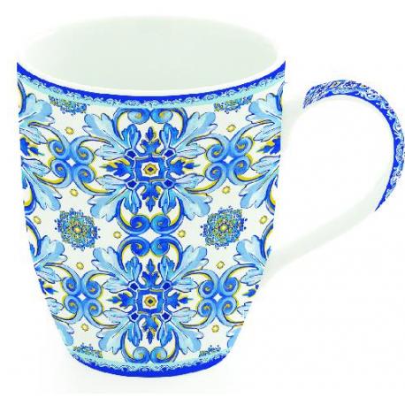 Porcelánbögre, 350ml, Maiolica Blue