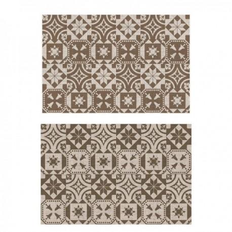 Kültéri szőnyeg kétoldalú Portugál csempemintás barna