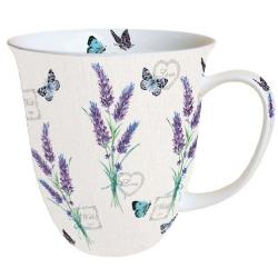 Porcelán bögre 0,4l levendulás pillangós