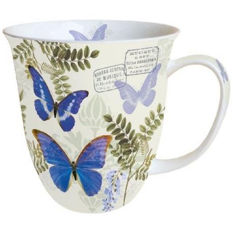 Porcelán bögre 0,4l kék pillangós