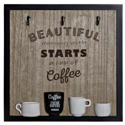 Fa fogas 3db akasztóval kávés csészés