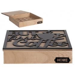 Kávékapszulatartó fadoboz 24x24x5cm