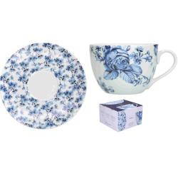 Porcelán csésze+ alj 200ml kék virágos