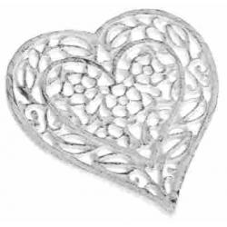 Öntöttvas edényalátét fehér szív