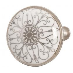 Ajtófogantyú fehér ezüst mintás fém kerettel