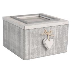 Fa tároló doboz fényképtartós üvegtetővel