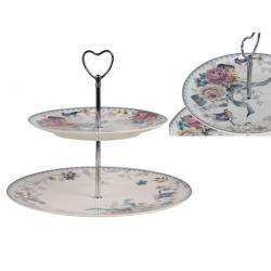 Porcelán 2 emeletes tortatál/kínáló madaras