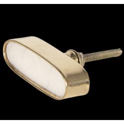 Ajtófogantyú ovális fehér kő arany keretben