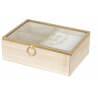 Fa ékszertartó doboz üveg tetővel