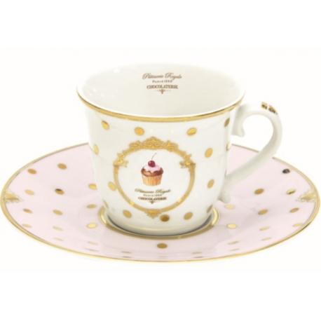 Porcelán teás csésze+alj 200ml Dots&cupcakes