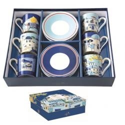 6 személyes porcelán kávéscsésze szett Sea dreams