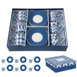 6 személyes porcelán kávéscsésze szett kék geometriai