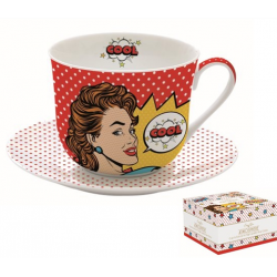 Porcelán reggeliző csésze+alj 400ml Pop Art
