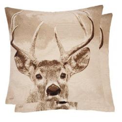 Szarvasos,barna fehér - textil párna töltelékkel 45x45cm