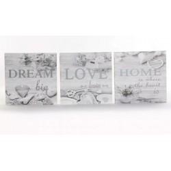 Falikép, 30X30cm Dream Love Home 3 féle
