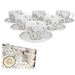 Porcelán csésze+alj 6 személyes szett Provance