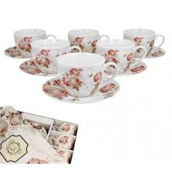 Porcelán csésze+alj 6 személyes szett Rózsás