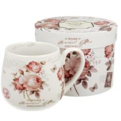 Porcelán bögre díszdobozban 430ml Rózsás