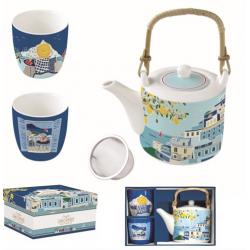 Porcelán teáskanna + 2 porcelán csésze Sea Dreams