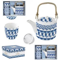 Porcelán teáskanna + 2 porcelán csésze